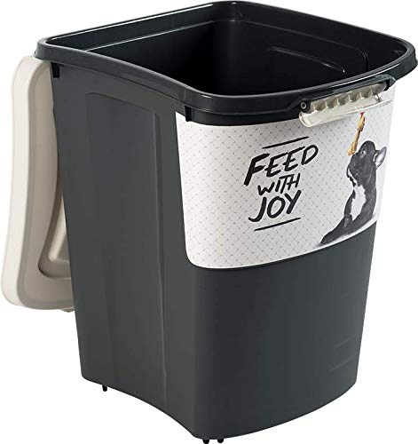 Rotho 4550010536 Aufbewahrungsbox für Tierfutter Archie - aus Kunststoff (PP) - Futtertonne mit Rollen & 18 kg Volumen, Einheitsgröße, schwarz/weiß