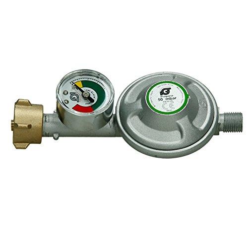 ECD Germany Druckminderer - 50 mbar - mit Manometer - für Brenner - Druckregler - Gasdruckminderer - Gasregler - Gasbrenner - Gas - Propan - Niederdruckregler