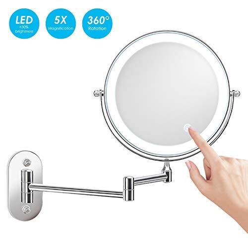 alvorog Kosmetikspiegel LED Beleuchtet mit 1x/5x Fache Vergrößerung Touchscreen Batterie einstellbar Schminkspiegel Make-up Spiegel 360°Schwenkbar Faltbar Wandmontage für Badezimmer