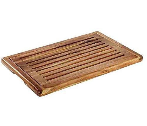 Brotschneidebrett 'AKAZIA' aus Holz, stapelbar, herausnehmbares Krümelfach, 4 Antirutschfüßchen, Akazienholz | SUN (A1 - 47,5 x 32 cm)
