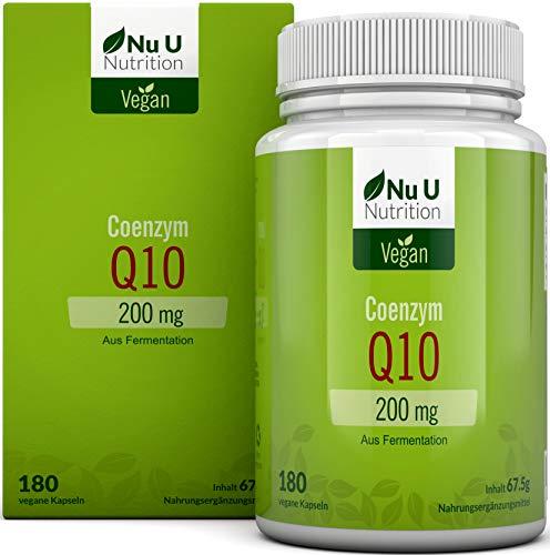 Coenzym Q10 | CoQ10 Kapseln hochdosiert 200mg pro Kapsel | Premium CoQ10 durch Pflanzliche Fermentation Gewonnen | 50% MEHR 180 Kapseln (im 5 Monatsvorrat) | vegan | hergestellt in Deutschland