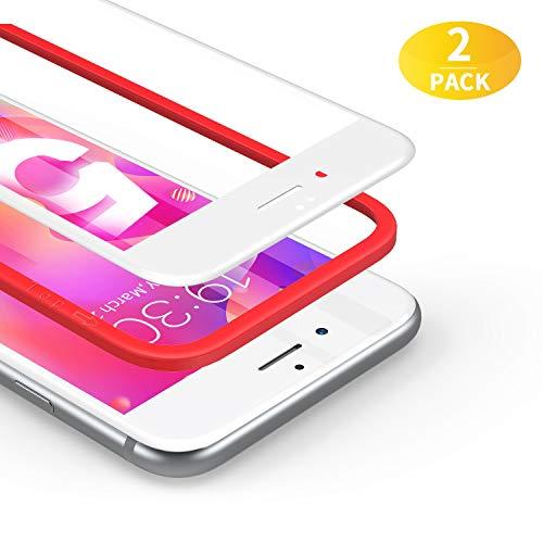 BANNIO für [2 Stück]Panzerglas für iPhone 6/6S [Installationsrahmen inklusive],HD Ultra-klar Panzerglasfolie Full Sreen,9H Härte,Anti-Kratzen,3D-Touch, Vollständige Abdeckung -weiß