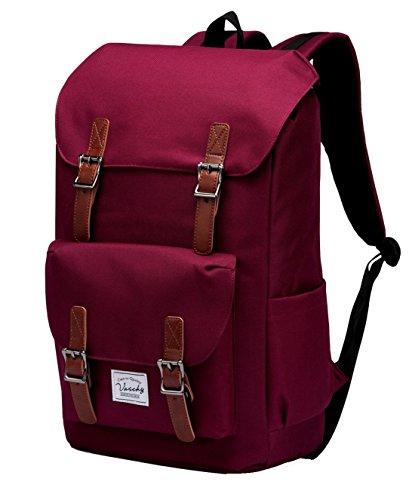 Schulrucksack Vaschy Rucksack Schulrucksäcke für Männer Schulrucksäcke für Mädchen Wasserabweisend Rucksack Lässiger Rucksack 15.6 Zoll Laptop (Burgund)
