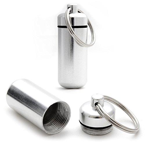 2er SET Mini-Kapsel / Pillendose wasserdicht zur Aufbewahrung von Kleinteilen, Aufbewahrungsbox / Pillenbox als Schlüsselanhänger mit Schraubverschluss (Gummidichtung), Höhe: 45mm, Material: Aluminium, Farbe: Silber - Marke Ganzoo