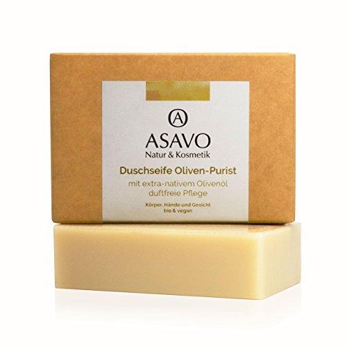 ASAVO Premium Olivenölseife, handgeschöpft mit extra-nativen Bio-Olivenöl, 100% Naturseife, Olivenseife, ohne Parfum, vegan, ohne Palmöl, 95g