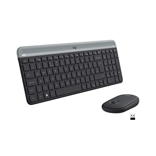 Logitech MK470 Kabelloses Tastatur-Maus-Set im schlanken Design (Flaches, kompaktes Profil, ultraleiser Betrieb, Deutsches Layout QWERTZ) graphite
