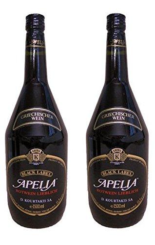 2x Apelia Black Label Magnum je 1,5 Liter griechischer Rotwein Griechenland roter Wein + Probiersachet a 10 ml Olivenöl aus Kreta