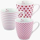 MC-Trend 3er Set XL Jumbotassen Becher Kaffee Tee Kakao rosa getreift und mit Punkten Porzellan Geschenk Blümchen