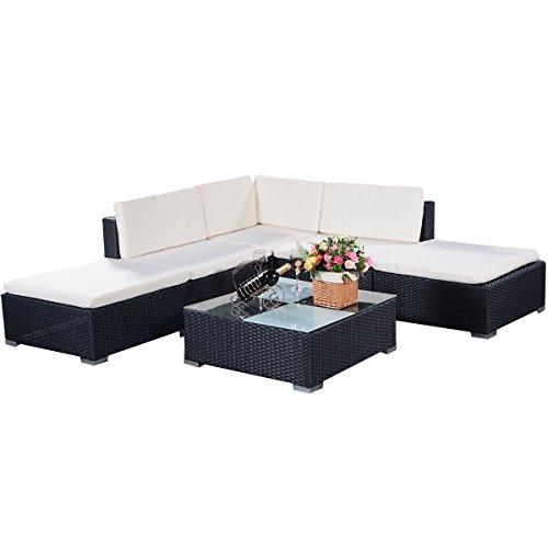 COSTWAY Poly Rattan Rattanmöbel Gartenmöbel Lounge Set Gartenlounge Gartengarnitur Gartenset Sitzgruppe Sitzgarnitur Sofa schwarz