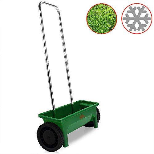 Streuwagen | 12L | praktische Stellfüße | 50cm Streubreite | Streuer Saatgut Düngerstreuer für Salz Dünger Rasen Split
