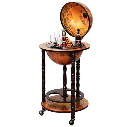COSTWAY Globusbar Minibar Weltkugel Weinregal Flaschenregal Globus Bar Hausbar Cocktailbar Dekobar Tischbar mit Rollen