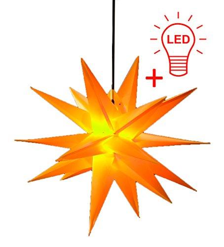LED WEIHNACHTSSTERN 3D GELB XXL 100 cm INKL. LED-LEUCHTMITTEL Faltstern Außenstern Adventsstern wetterfest für außen und innen 4m Kabel von Dekowelt