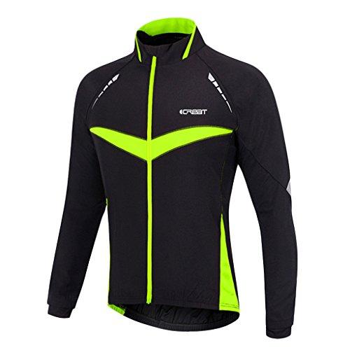 iCREAT Herren Jacket Air Jacket Winddichte Wasserdichte MTB Mountainbike Jacket Visible reflektierend, Fleece Warm Jacket für Herbst, Grün Gr.L