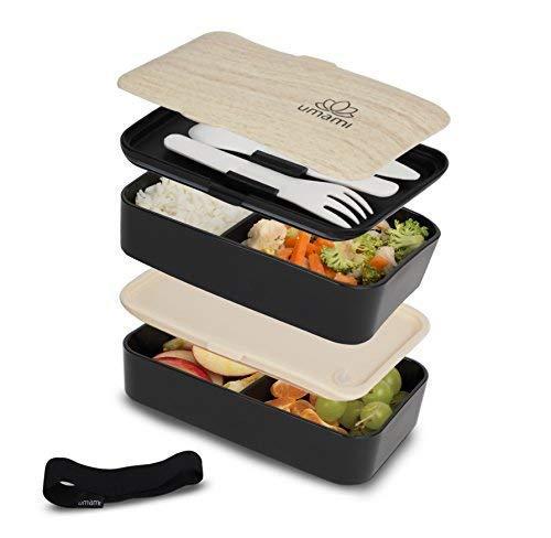 Umami Bento Original Schwarz -Lunchbox Mit 2 LuftdichtenFächern Plus 3-Teiligem, RobustenBesteck |Geeignet Für Erwachsene Und Kinder|Spülmaschinen- Und Mikrowellenfest
