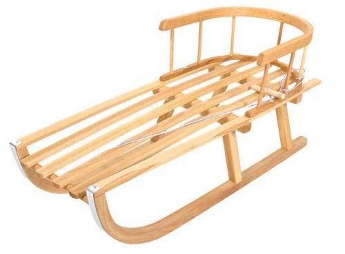 Holzschlitten Kinderschlitten aus Buchenholz Rückenlehne inkl. Zugseil Schlitten Lehne Schieber Metallkufen