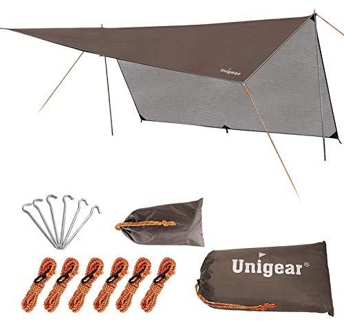 Unigear Zeltplane, Tarp für Hängematte, mit Ösen + 6 Erdnägel+ 10 Seilen, Regenschutz Sonnenschutz für Camping Ourdoor, wasserdicht