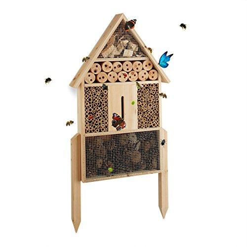 Relaxdays Insektenhotel L stehend, Nisthilfe für Bienen, Florfliegen, Marienkäfer, Holz HxBxT: 60,5 x 37 x 9 cm, natur