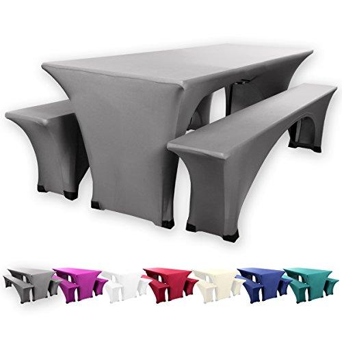 Gräfenstayn Leopold Stretch Biertischhussen-Set 3 tlg für Bierzeltgarnitur – 70cm oder 50cm Tischbreite - mit Öko-Tex Standard 100 (70 x 220 cm, Anthrazit)
