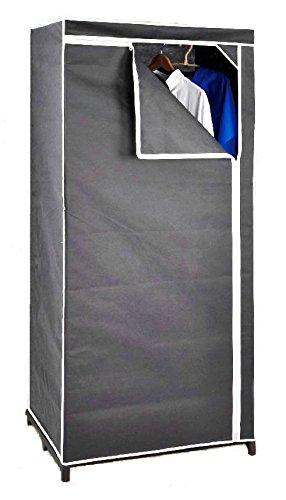 Stoffschrank 160 cm inkl. Kleiderstange - grau - Kleiderschrank Faltschrank Stoffkleiderschrank