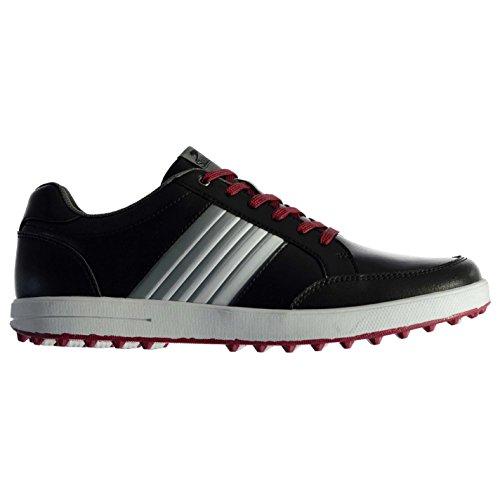 Slazenger Casual Herren Golfschuhe ohne Soft Spikes Schuhe Streifen Detail Schwarz 9 (43)