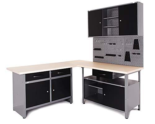 Ondis24 Werkstatt Ecklösung Basic One, 170 cm breit, 2x Werkbank, 1x Werkzeugschrank, Metall, abschließbar, 3x Werkzeugwand - Lochwand, 1x Haken Set (Arbeitshöhe 85 cm, schwarz)