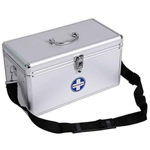 SONGMICS Verbandkasten leer, Box mit 2Schichten aus Alu 40x 20,5x 22,5cm JBC36S