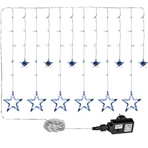 VOLTRONIC 12 Sterne 150 LED Lichtervorhang Lichterkette für innen und außen, erhältlich in warmweiss/kaltweiss / bunt, GS geprüft, Wasserdicht IP44, 8 Leuchtmodi, Outdoor
