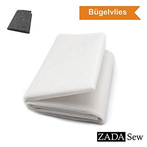 ORIGINAL von ZADA Sew - Bügelvlies | Volumenvlies | Vlieseline | Vlieseinlage | Bügeleinlage | Doppelseitig | Einseitig | Klebevlies | Nähen | (Mittel (40+18 g/m2), Weiß)