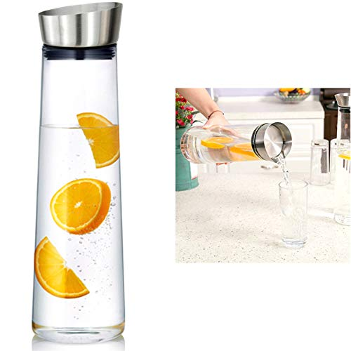 Wasserkaraffe 1 Liter Karaffe Saftkrug Krug aus Glas mit Ausgiesser Sieb Küche von Schoberg
