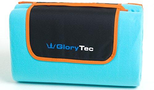 GloryTec Picknickdecke Outdoor 200 x 200cm - Flauschige Campingdecke XXL aus Fleece Wasserdicht, Wärmeisoliert und Schmutzabweisender Unterseite - Extra Leicht und Faltbar mit Tragegurt