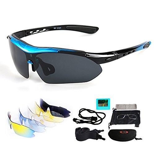 Sport Sonnenbrille Fahrradbrille Sportbrille mit UV400 5 Wechselgläser inkl Schwarze polarisierte Linse für Outdooraktivitäten wie Radfahren Laufen Klettern Autofahren Laufen Angeln Golf Unisex (Blau)