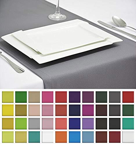 Rollmayer EDLE TISCHLÄUFER TISCHDECKE TISCHTUCH TISCHWÄSCHE PFLEGELEICHT 40 Farben (Silbergrau 31, 40x200cm)