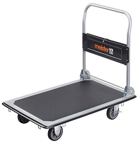 Meister Plattformwagen  Klappbar  Bis 300 kg Tragkraft  Feststellbremse | Transporthilfe mit Lenkrollen | Paketwagen mit Antirutsch-Beschichtung | Klappwagen aus Stahl | 8985540