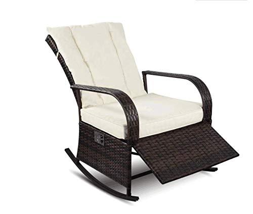 YOUKE Outdoor Wicker Schaukelstuhl, Outdoor Glider Patio Sessel Lounge Chair(Braun)