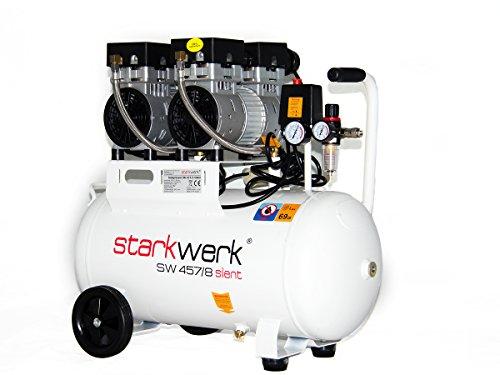 Starkwerk Silent Druckluft Kompressor SW 457/8 Ölfrei 50L Kessel Flüster Kompressor