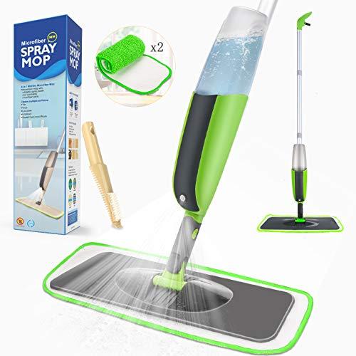 Tencoz Spray Bodenwischer Sprühwischer Bodenwischer mit 300ml integriertem Sprühtank im Stiel und 2-Mikrofaserbezug Wischer für Hauses, Büros, Küchenholzbodens