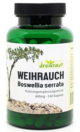 Weihrauch-Kapseln - 400mg, Boswellia Serrata, 140 Stück - hochdosiert, frei von Zusätzen, rückstandsgeprüft, 100% Indischer Weihrauch, natürlicher Entzündungshemmer