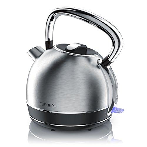 Arendo - Retro Edelstahl Wasserkocher / Teekessel im Vintage Style | max. 2200 Watt | austauschbarer Kalkfilter | Füllmenge max. 1.7 Liter | automatische Abschaltung | silber (Edelstahl gebürstet)