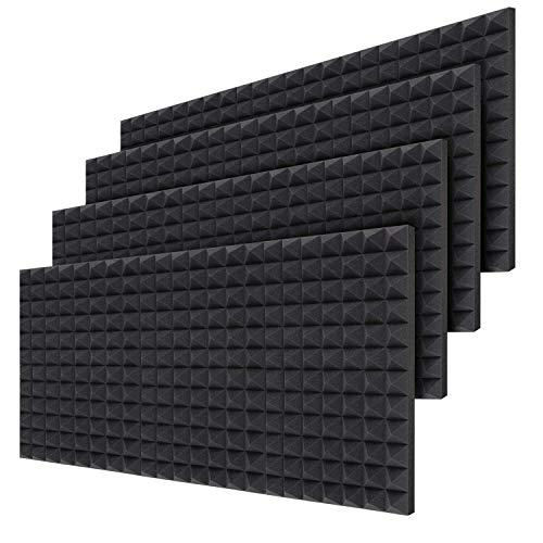 Akustikschaumstoff 24 PCS, Ohuhu schallabsorbierende Dämpfungswand Schaumpyramide, 5 x 30,5 x 40,6 cm