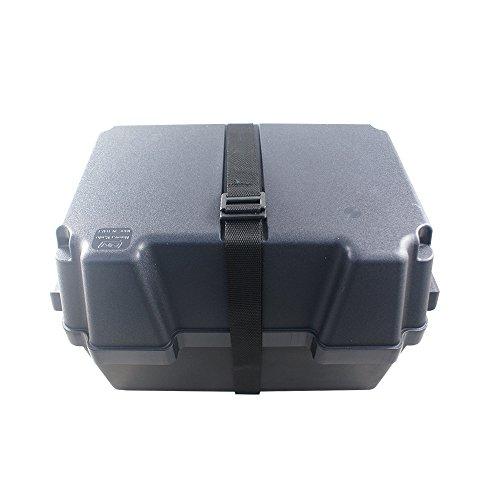 Batteriebox | Batteriekasten für AGM und GEL Batterien bis 100 Amperestunden | mit Gurt | aus schwarzem, säurebeständigem und bruchfestem Kunstoff