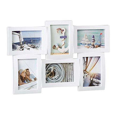 Relaxdays Bilderrahmen für mehrere Fotos, Collage für 6 Bilder, Fotorahmen in 3D-Optik, zum Hängen, 33 x 47,5 cm, weiß