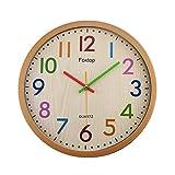Foxtop Modernen Kinderwanduhr Stille Nicht-tickende Wanduhr mit Farbenfrohem Design, ohne Ticken Wanduhr, (Ø) 32 cm