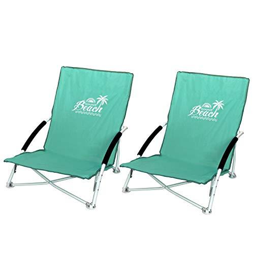 Wohaga 2 Stück Strandstuhl Summer-Beach inkl. Transporttasche Campingstuhl Gartenstuhl faltbar Grün Klappstuhl Anglerstuhl Faltstuhl