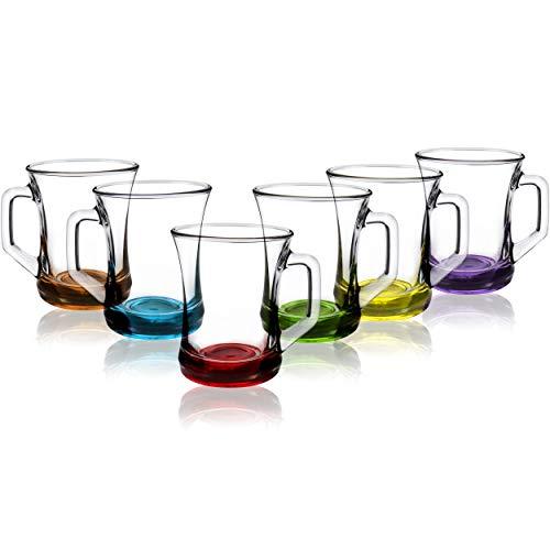 COM-FOUR 6-teiliges Trinkgläser Set, Tee- / Kaffee- / Cappuccino-Glas, spülmaschinenfest (Set3-06 Stück/Teeglas farbig)