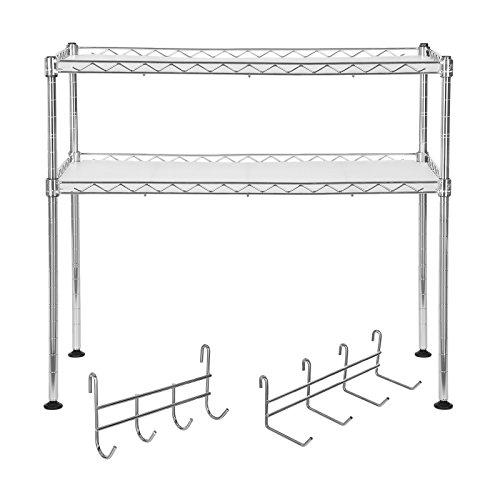 Songmics Küchenregal Mikrowellenhalter Super Stahlqualität, Breite 60 cm, Gewürzregal Verchromt - mit 8 Haken 2 Ablagen für kleine Küchen LGR20C