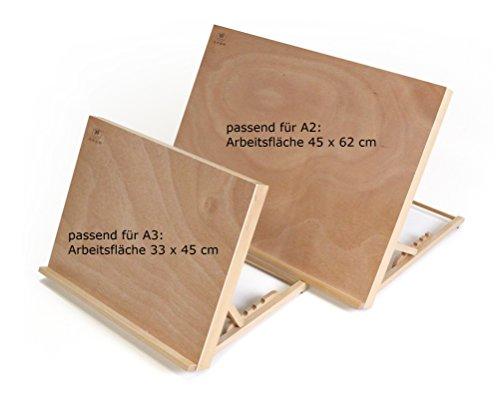 Tischstaffelei Zeichenbrett + Workstation Größe A3, Buchenholz