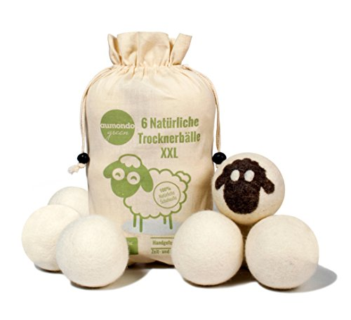 Trocknerbälle für Wäschetrockner. 6 XXL extragroße Filzbälle aus Schafwolle, der natürliche Weichspüler. Ideal für Daunenjacken. Dryer Balls Trocknerkugeln für Daunen.
