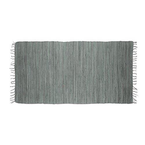 Relaxdays Flickenteppich grau 70 x 140 cm mit Fransen 100 % Baumwolle, einfarbig, Fleckerlteppich, anthrazit