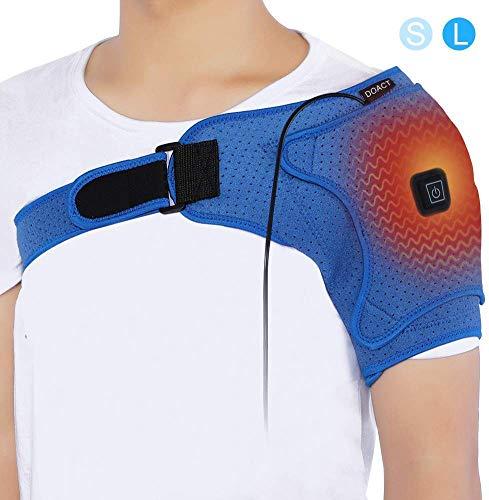 Doact Wärme Neopren Verstellbare Schulterbandage, Unterstützung Wrap Gürtel Schulter Unterstützung, USB elektrische Schulter Heizkissen für Rotatorenmanschette, gefrorene Schulter L(Büste 103-130cm)