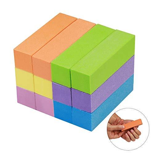 12er Schleifblöcke,ZOOMSKY Polierblock Buffer der neuen Generation mit 4 Feil- und Polierflächen Nagelfeile Block Nagelkunst Maniküre Werkzeug - in Sortierte Farben